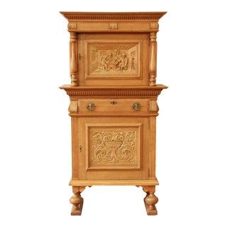 Antique Oak German Bar Cabinet