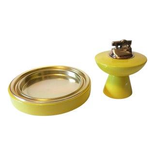 1960's Yellow Atomic Ashtray & Lighter Set