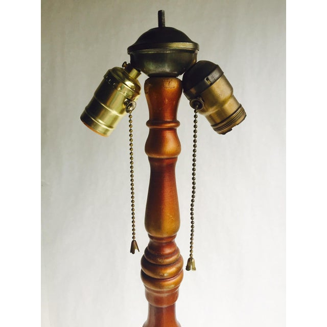 Vintage 1920s Ornate Floor Lamp Wood & Metal - Image 7 of 10