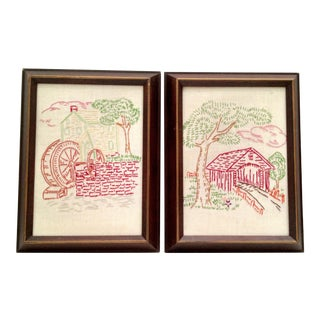 Vintage Framed Needlepoint Art