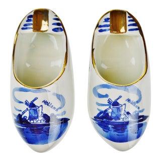 Delfts Blauw Holland Porcelain Hand Painted Shoe Ashtrays - A Pair