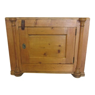 Antique French Pine End Table Cabinet