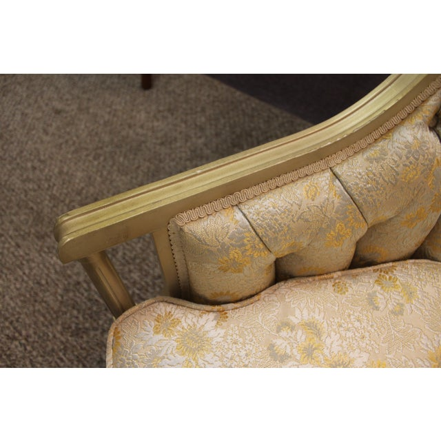 Vintage Tufted Back Louis XV French Bergere Chair - Image 11 of 11