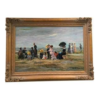 """Jacques Deveau """"Beach Scene"""" Oil on Canvas Painting"""