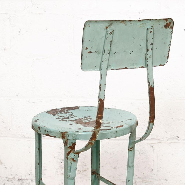 vintage industrial rustic green bar stool chairish. Black Bedroom Furniture Sets. Home Design Ideas
