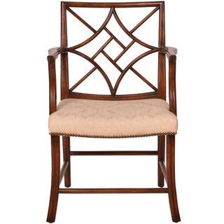 Solid Walnut Fretwork Arm Chair