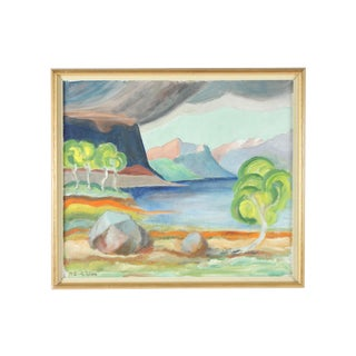 1974 Whimsical Landscape Oil Painting