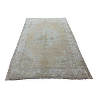 Mid 20th C. Vintage Antique Tribal Oushak Neutral Soft Hand Knotted Turkish Rug -4'11 X 9'4