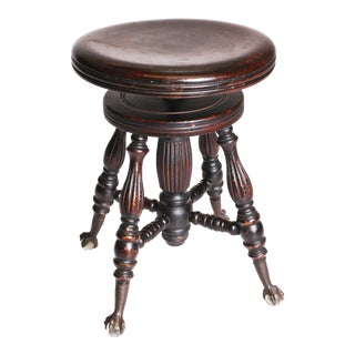 Victorian Wood Swivel Piano Stool with Ball & Claw Feet