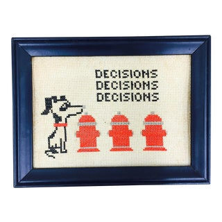 "Vintage Needlepoint ""Decisions"" Art in Frame"