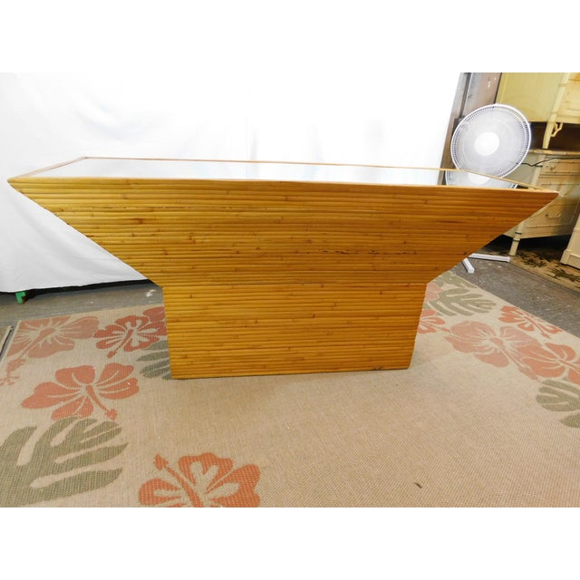 Vintage Mid-Century Split Reed Mirror Top Console Table - Image 3 of 10