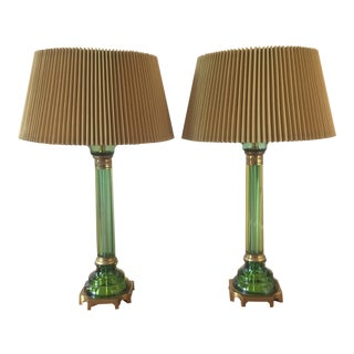 Marbro Green Seguso Glass Lamps - A Pair