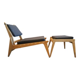 1950s Mid-Century Fumed Oak Lounge Chair W/ Matching Ottoman