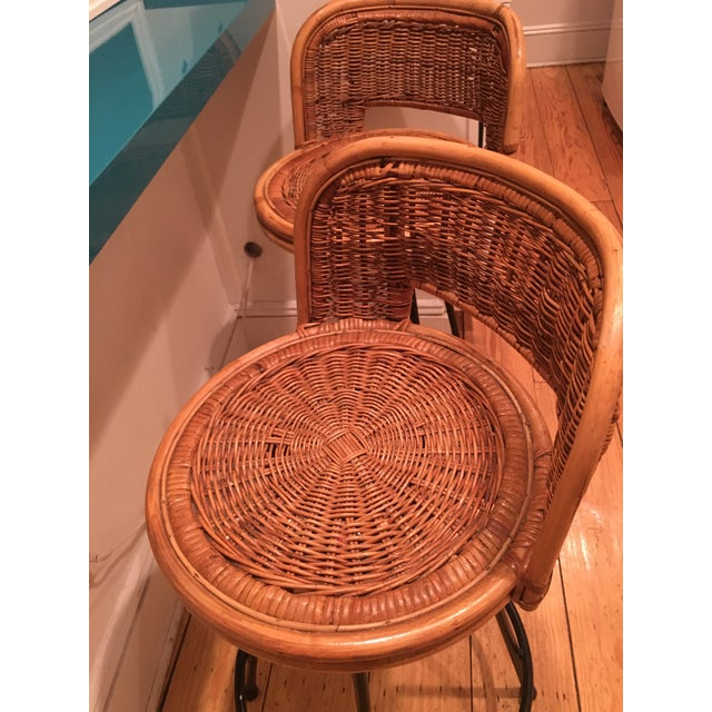 Tony Paul Style Vintage Rattan & Bamboo Swivel Bar Stools- A Pair - Image 3 of 5