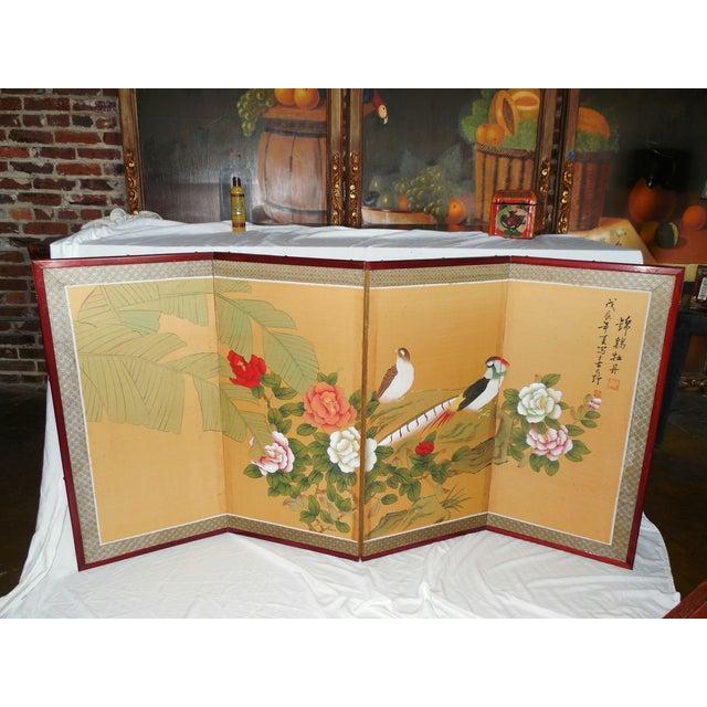 Japanese Silk Byobu Screen With Pheasants - Image 3 of 8