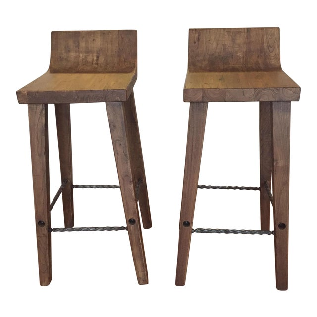 Reclaimed Elm Wood Bar Stools -- A Pair - Image 1 of 7