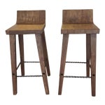 Image of Reclaimed Elm Wood Bar Stools - a Pair