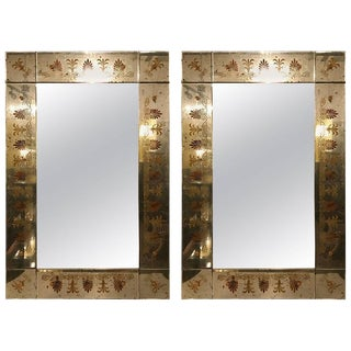 Hollywood Regency Églomiséd Framed Mirrors - A Pair