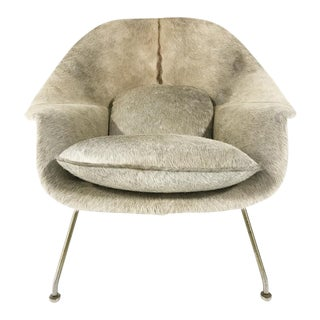 Vintage Eero Saarinen Womb Chair Reupholstered in Brazilian Cowhide