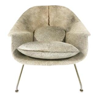 Vintage Eero Saarinen Womb Chair Reupholstered in Brazilian Cowhide