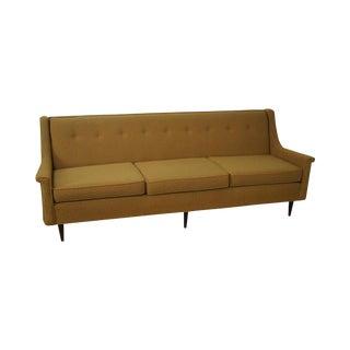 Mid-Century Yellow Gold Upholstered Walnut Sofa