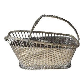 Vintage French Silver Wine Basket