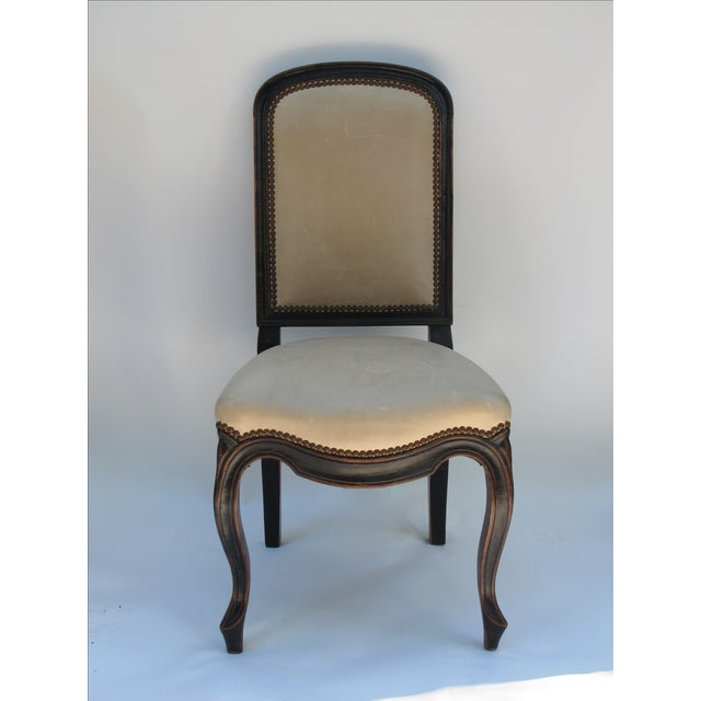 Image of Cream Leather Spanish-Style Chairs - A Pair