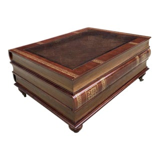 Glass Top Stacked Book Coffee Table