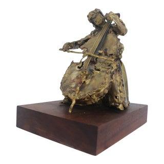 "S. Mannheim Brutalist Brass ""Woman and Cello"" Sculpture"