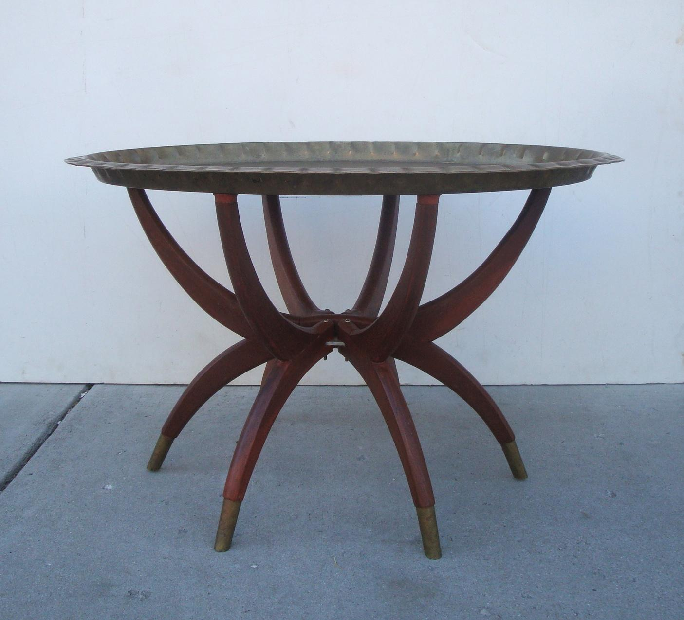 Oval Moroccan Teak U0026 Brass Spider Leg Tray Table   Image 3 ...