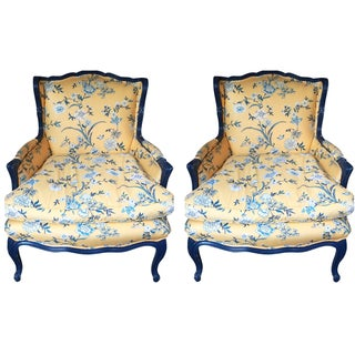 Yellow French Country Armchairs - A Pair