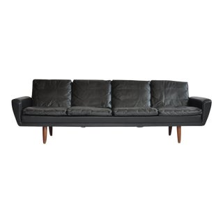 Danish Leather Sofa with Rosewood Legs