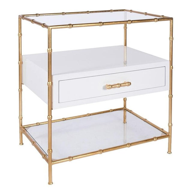 Worlds Away White Lacquer & Gold Leaf Bamboo Side Tables W/ Glass Shelves - a Pair - Image 3 of 3
