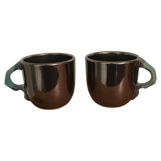 Artist Signed Silver Glaze Ceramic Mugs - A Pair
