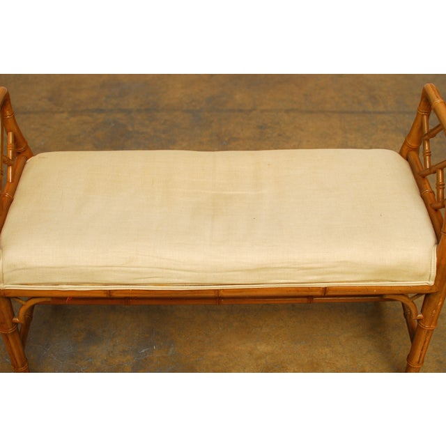 Hollywood Regency Faux Bamboo Chippendale Bench - Image 3 of 6