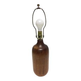 Mid-Century Modern Turned Walnut Table Lamp