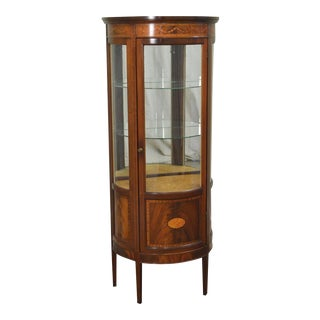 Federal Style Flame Mahogany Demilune Vitrine Curio Cabinet