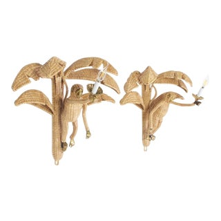 Amusing Pair of Mario Torres Wicker Monkey Sconces with Palm Leaves