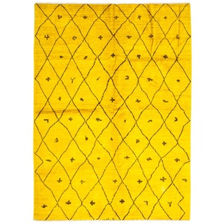 "New Yellow Over-Dyed Moroccan Hand-Knotted Rug - 6' 6"" x 8' 10"""
