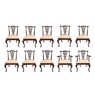 Vintage Mahogany Dining Chairs - Set of 10