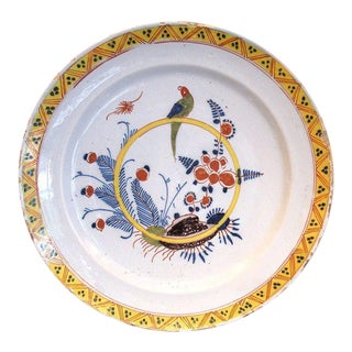 18th Century English Delft Parrot Charger Plate