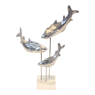 Aluminium and Lucite Trio of Sharks Sculpture