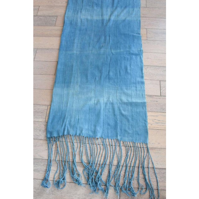 Vintage African Indigo Fringe Throw Blanket - Image 5 of 5