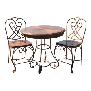 Iron Pub Table & Chairs - Set of 3