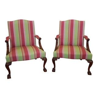 Pair Martha Washington Mahogany Chippendale Style Southwood Furniture Gainsborough Armchairs