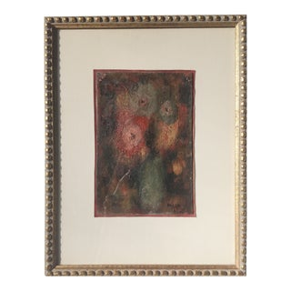 1967 Abstract Oil Painting-Vase Flowers