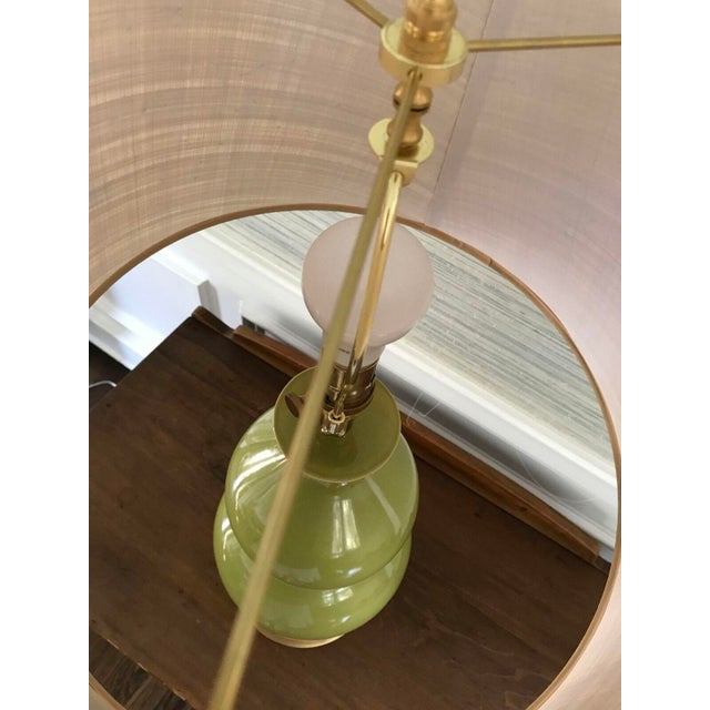 Green Ceramic Gourd Lamp With Gilded Gold Base - Image 5 of 5