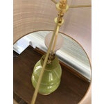 Image of Green Ceramic Gourd Lamp With Gilded Gold Base
