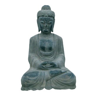 Hand Carved Stone Buddha In Lotus Sitting Position Meditate With Eye Close