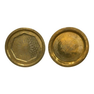Large Brass Etched Brass Platters - a Pair